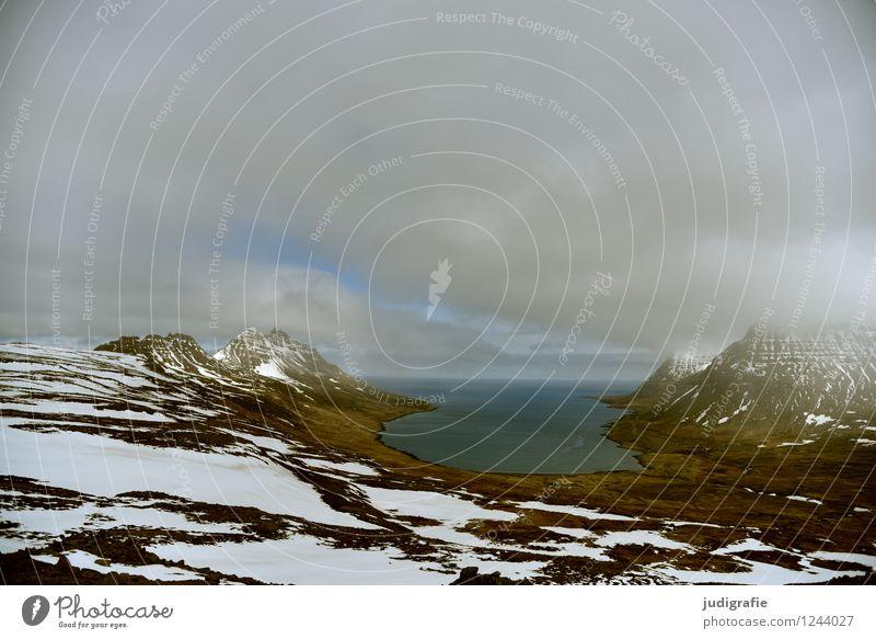 Island Umwelt Natur Landschaft Urelemente Erde Himmel Wolken Klima Schnee Berge u. Gebirge Schneebedeckte Gipfel Küste Fjord Meer Westfjord