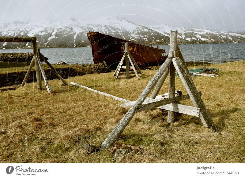 Island Umwelt Natur Landschaft Klima Berge u. Gebirge Schneebedeckte Gipfel Küste Fjord Djupavik Fischerdorf Hafen Schifffahrt Wasserfahrzeug Schiffswrack