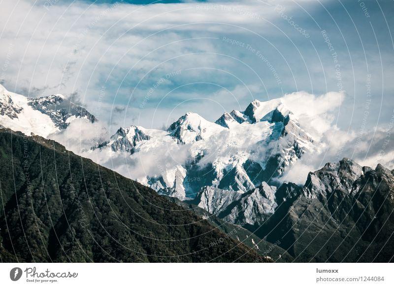 mount cook Natur Landschaft Himmel Wolken Felsen Berge u. Gebirge Southern Alps Mount Cook Gipfel Gletscher Insel Neuseeland blau grau Farbfoto Außenaufnahme