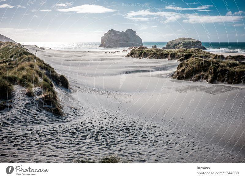 südsee Himmel Ferien & Urlaub & Reisen blau grün Sommer Meer Landschaft Wolken Strand Reisefotografie gelb Küste Sand Insel fantastisch Schönes Wetter