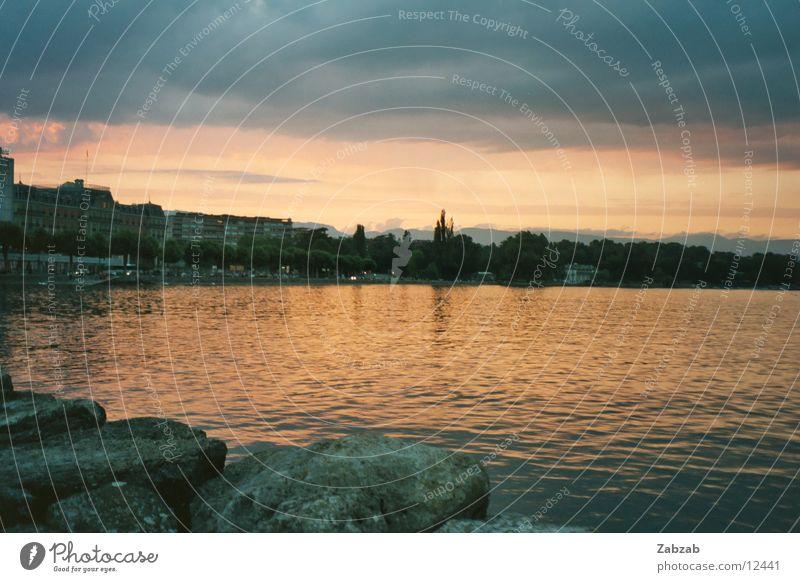 Sonnenuntergang am Genfersee Wasser Himmel Sonne rot Strand schwarz Wolken Gefühle Stein See Wasserfahrzeug Küste Horizont Romantik Schweiz fallen