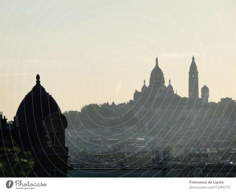 Silhouette des Sacré Coeur Städtereise Architektur Wolkenloser Himmel Horizont Paris Frankreich Europa Hauptstadt Stadtzentrum Menschenleer Kirche Bauwerk