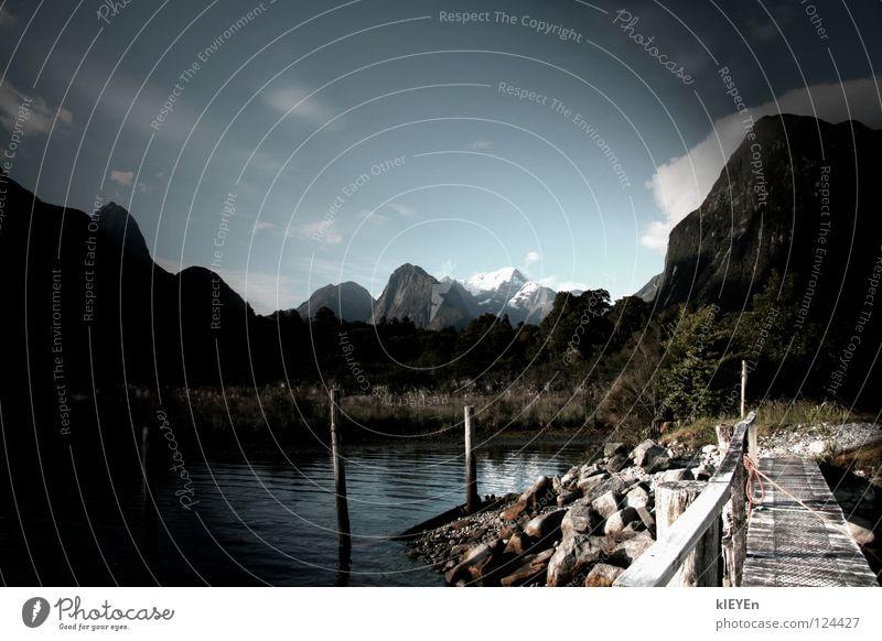 Land schafft Wasser Himmel Ferien & Urlaub & Reisen Wolken Wald Schnee Erholung Gras Berge u. Gebirge Freiheit Holz Stein Seil Sträucher Steg Geländer