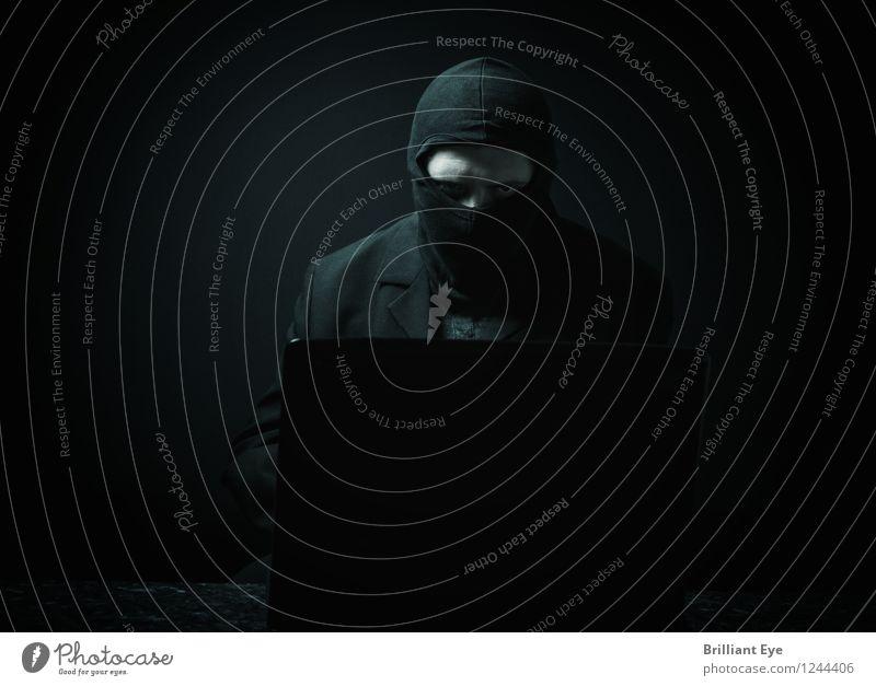 Maskierter Datendieb Mensch Jugendliche Mann 18-30 Jahre dunkel Erwachsene Business Büro Computer bedrohlich Macht Schutz Information Internet Wut rennen
