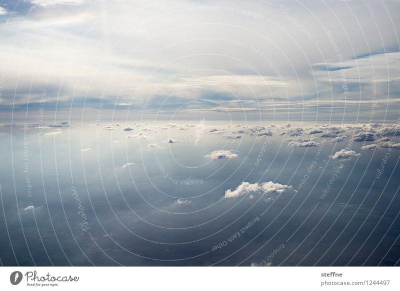 Zwischenräume (III/III) Landschaft Himmel Wolken fliegen Flugzeugausblick Wetter Wolkenfeld Farbfoto Außenaufnahme Luftaufnahme Menschenleer Textfreiraum oben