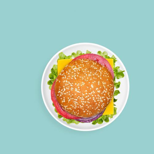 Sandwich auf einfachem grünem Hintergrund Käse Gemüse Ernährung Mittagessen Abendessen Fastfood Teller hell saftig Amerikaner Burger Cheeseburger Direkt darüber