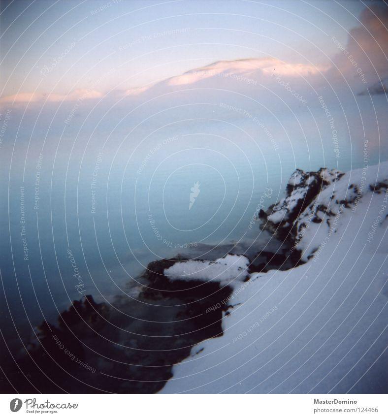 Nebellagune blau Wasser Erholung Schnee Berge u. Gebirge Wärme Eis Felsen Bad Schwimmbad Physik heiß Rauch Island Ereignisse