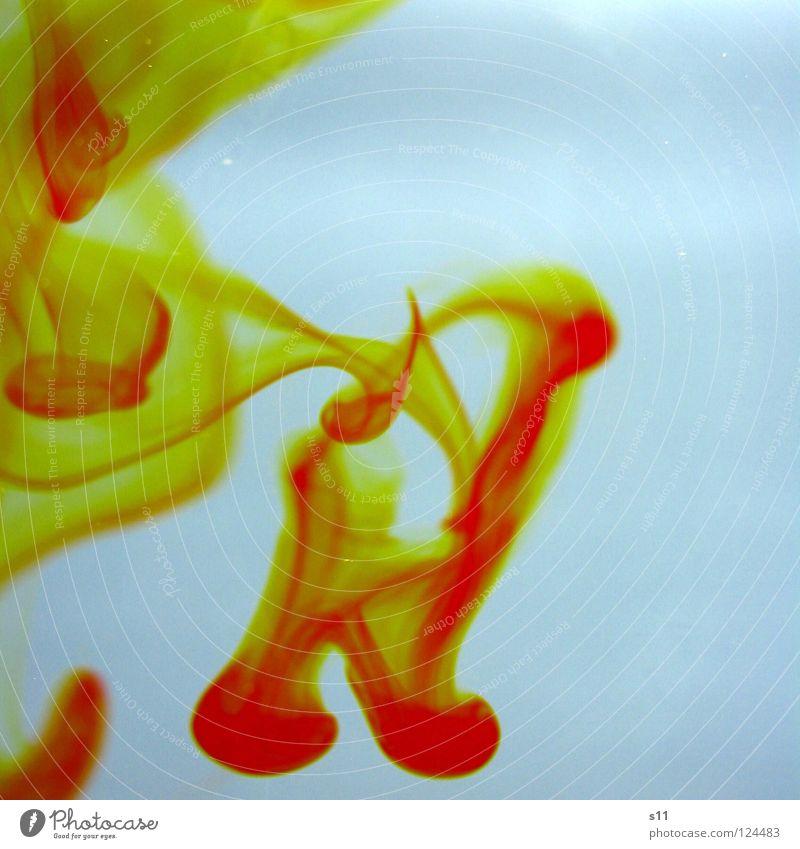 Yellow In Water II Wasser Flüssigkeit nass weiß Farbe Vergänglichkeit fließen mischen Lebensmittelfarbe Spuren yellow. gelb water mehrfarbig Licht