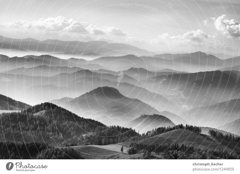 mountains Umwelt Natur Landschaft Himmel Wolken Horizont Herbst Nebel Alpen Berge u. Gebirge Gipfel Erholung fliegen ästhetisch schwarz weiß ruhig Außenaufnahme