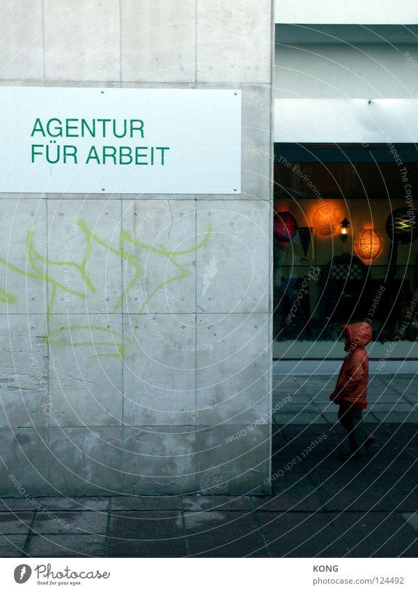 die zukunft ist ein lampenladen Kind Stadt Graffiti grau Arbeit & Erwerbstätigkeit klein Deutschland Behörden u. Ämter Schilder & Markierungen Beton Zukunft