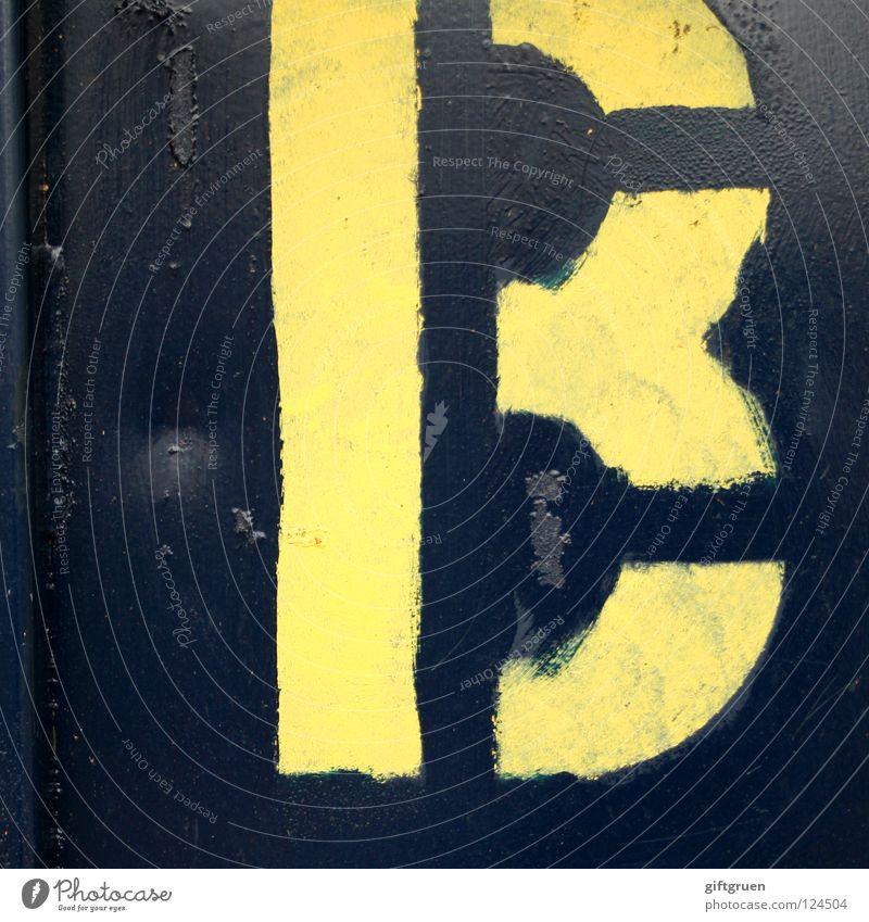 B blau gelb Graffiti Schilder & Markierungen Industrie Schriftzeichen Buchstaben Typographie Lack Beschriftung Wandmalereien Lateinisches Alphabet