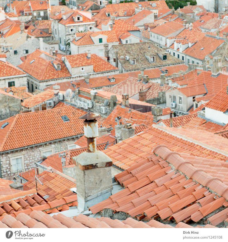 Über den Dächern der alten Stadt (Dubrovnik) Haus Architektur Gebäude grau braun orange Tourismus authentisch ästhetisch Aussicht Kultur Dach historisch