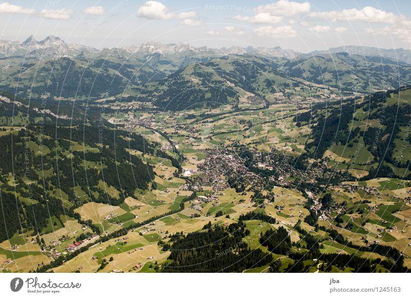 Gstaad von oben Natur Sommer Erholung ruhig Ferne Wald Berge u. Gebirge Sport fliegen Horizont Zufriedenheit Freizeit & Hobby Feld Luft Luftverkehr hoch