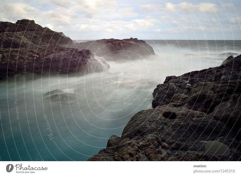 Malstrom Umwelt Natur Landschaft Wasser Himmel Wolken Horizont Wetter Schönes Wetter Sturm Felsen Wellen Küste Bucht Fjord Riff Meer wild blau braun weiß