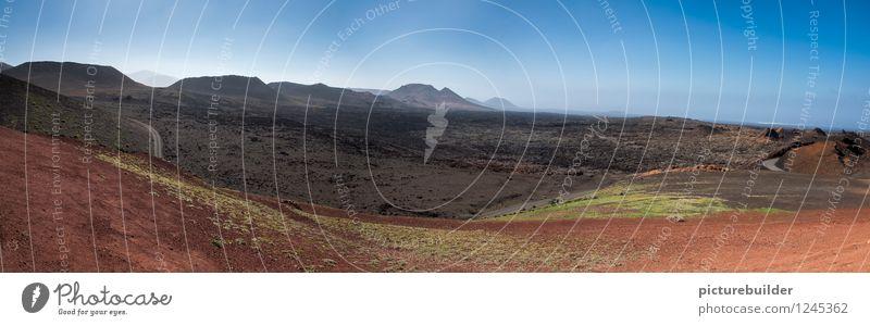 Vulkanlandschaft Natur Landschaft Erde Sommer Schönes Wetter Dürre Berge u. Gebirge Wüste Wege & Pfade trist trocken blau braun rot Horizont Farbfoto