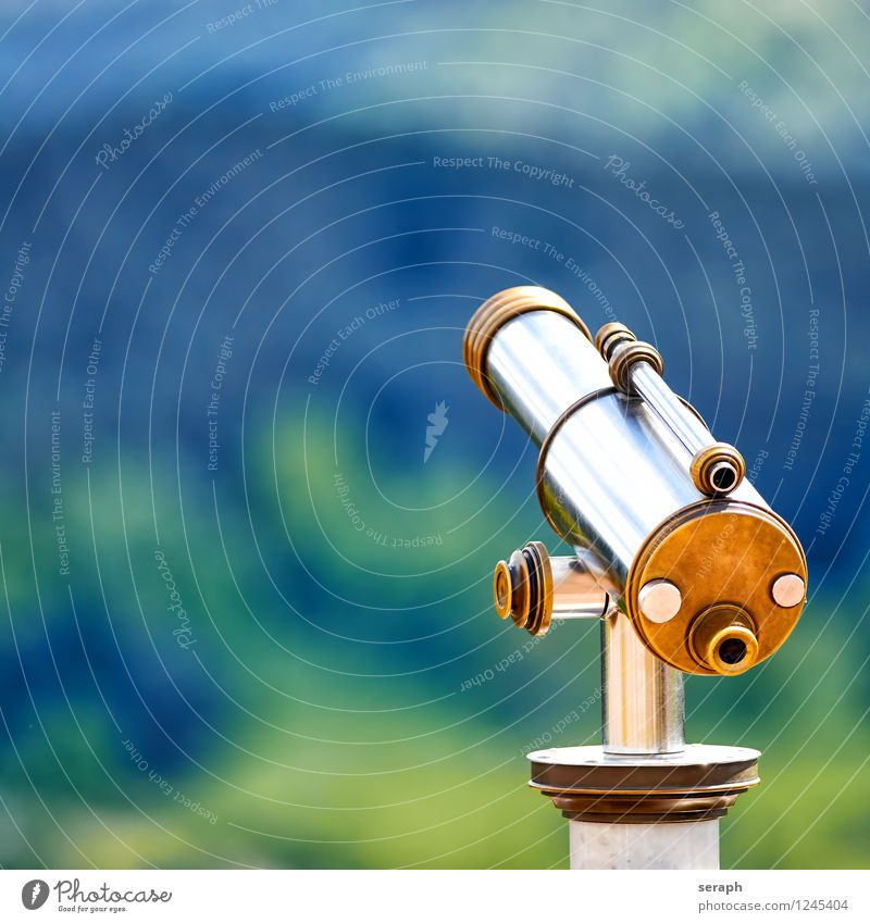 Fernrohr Aussicht Teleskop Tourismus Blick moculars Ferien & Urlaub & Reisen Außenaufnahme altehrwürdig Chrom Sehvermögen beobachten Observatorium Auge gold