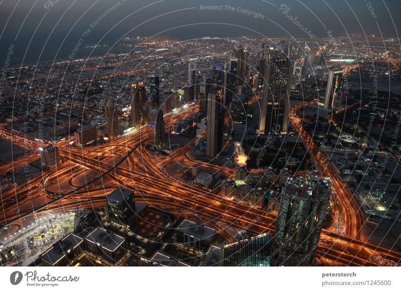 Lichtermeer 2 Ferien & Urlaub & Reisen Tourismus Ferne Städtereise Dubai Hauptstadt Stadtzentrum Skyline Hochhaus Brücke Sehenswürdigkeit Burj Khalifa Verkehr