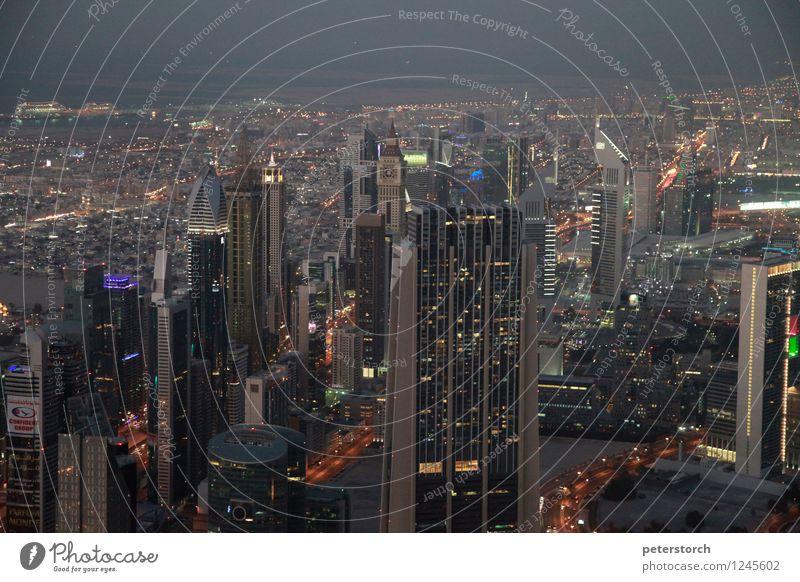Lichtermeer 1 Ferien & Urlaub & Reisen Ferne Sightseeing Städtereise Dubai Hauptstadt Stadtzentrum Skyline Hochhaus Fenster Dach Sehenswürdigkeit Burj Khalifa