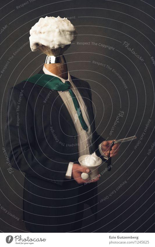 Mann mit Rasierpinsel als Kopf Mensch Jugendliche grün schön weiß 18-30 Jahre schwarz Erwachsene Gesicht Business maskulin elegant Kraft Körper Erfolg