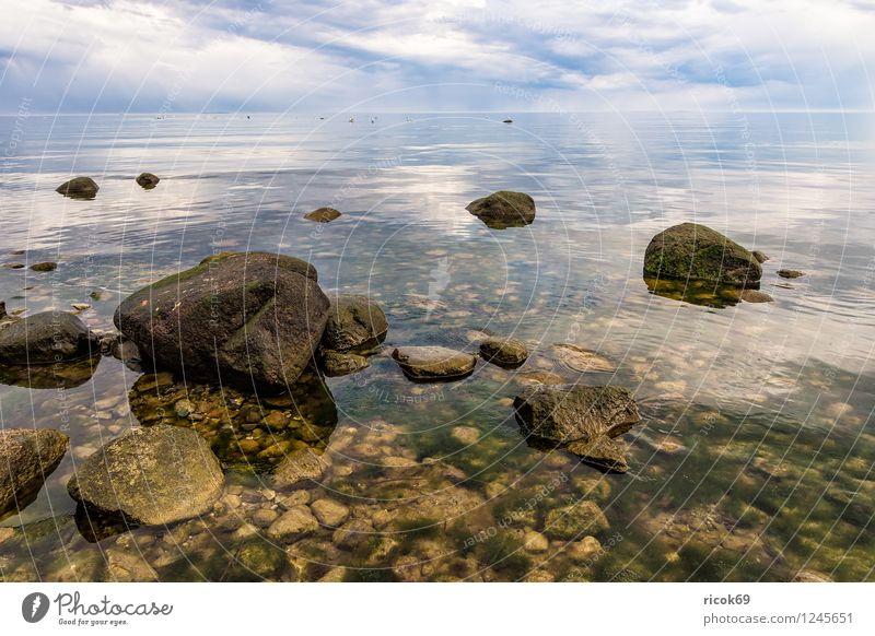 Ostseeküste auf Rügen Erholung Ferien & Urlaub & Reisen Strand Natur Landschaft Wolken Felsen Küste Meer Sehenswürdigkeit Stein grau Romantik Idylle Steinblock