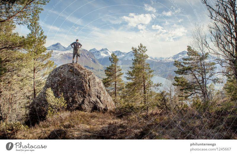 On the top Mensch Natur Ferien & Urlaub & Reisen Sommer Landschaft Wolken Ferne Wald Berge u. Gebirge Umwelt Sport Freiheit Felsen Tourismus wandern