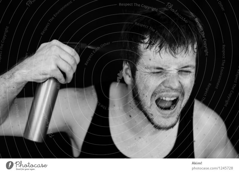 Kopfschuss! Mensch Jugendliche Wasser Junger Mann Freude 18-30 Jahre Erwachsene Gefühle Freiheit maskulin Angst Coolness Stress Erfrischung Euphorie schreien
