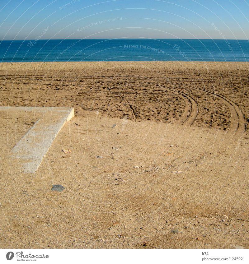 Verbindungsstück rund/eckig Horizont Meer Strand Smog Umweltverschmutzung Reifenspuren Fahrbahn Fußspur Ecke Biegung Wende Wasser Küste Erde Sand rechter Winkel