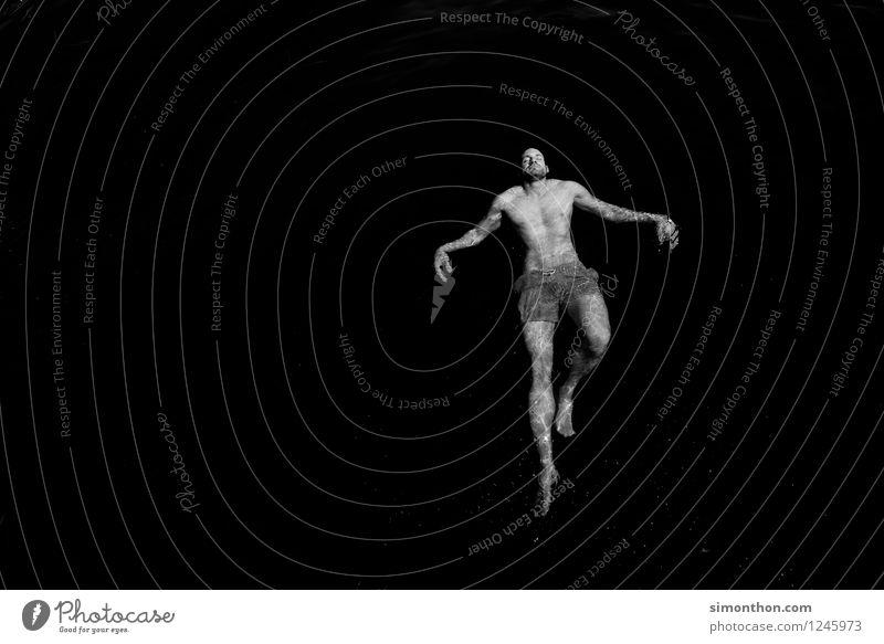 schweben Sport Fitness Sport-Training maskulin 1 Mensch Schwimmen & Baden Bewegung Erholung fallen elegant frei Glück muskulös nackt nass natürlich träumen