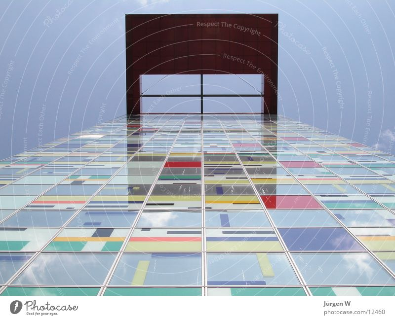 Patchwork Himmel Haus Farbe Architektur hoch Hafen Düsseldorf Portwein Patchwork