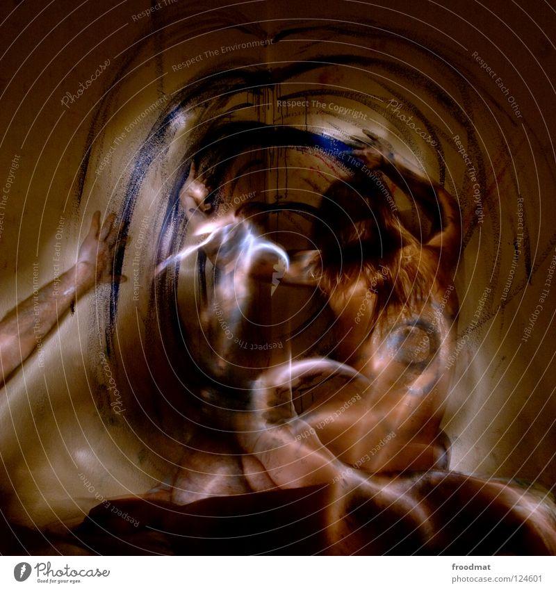 Blaupause Frau Jugendliche Mann blau nackt schön Farbe Erotik dunkel Liebe Gefühle Bewegung Glück Fuß Linie Paar