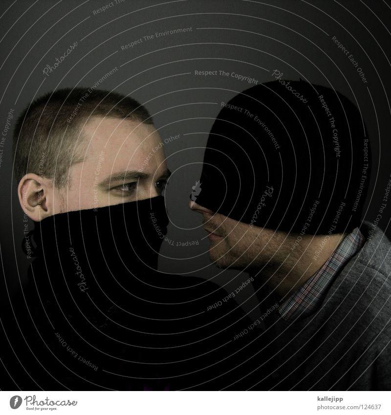 yin und yang Knall Schal Mütze kalt Winter Bekleidung Demonstration Mann Ärger Krieg Politik & Staat Freundschaft Feindschaft Frieden blind stumm Porträt 2 Paar