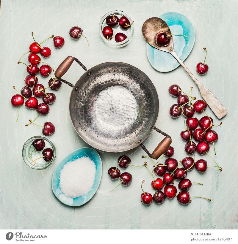 Kirschen Konfitüre oder Marmelade einzukochen Lebensmittel Frucht Dessert Ernährung Bioprodukte Vegetarische Ernährung Diät Teller Schalen & Schüsseln Topf
