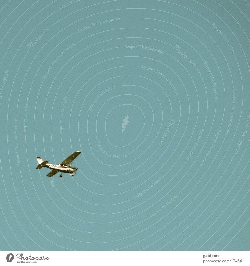 D-HELD Flugzeug gleiten Schweben Unendlichkeit Luft Tragfläche Pilot Flugbahn Luftverkehr Himmel Segelfliegen Schönes Wetter Freiheit frei blau