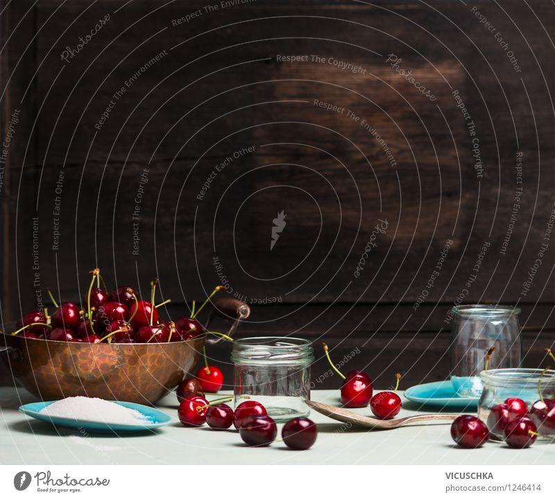 Kirschen Marmelade machen Lebensmittel Frucht Ernährung Bioprodukte Vegetarische Ernährung Diät Teller Topf Glas Löffel Sommer Garten Tisch Küche Entertainment