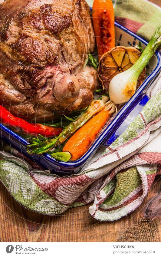 Lammkeule mit geröstetem Gemüse Weihnachten & Advent Gesunde Ernährung Leben Speise Stil Feste & Feiern Lebensmittel Design Tisch Kochen & Garen & Backen Ostern