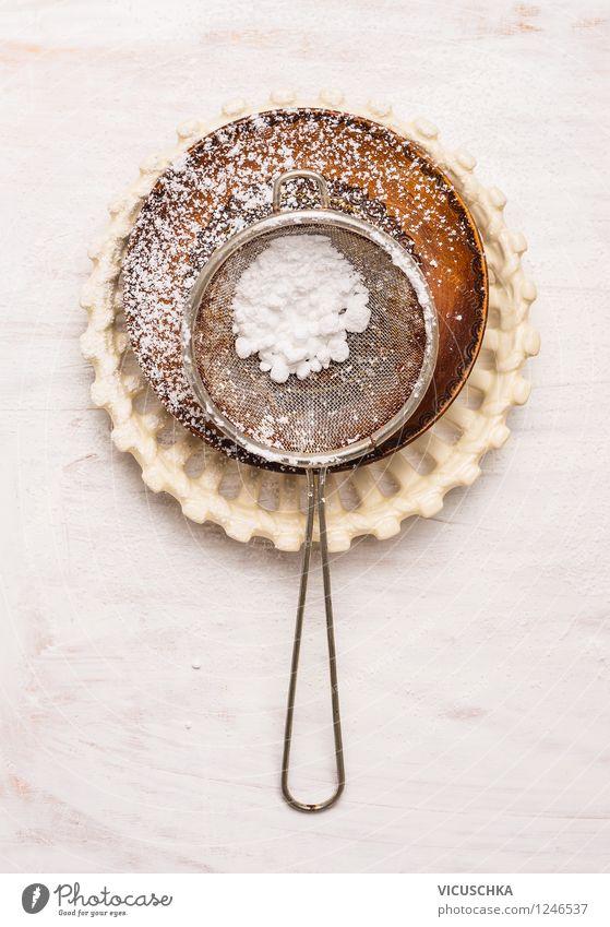 Sieb mit Puderzucker weiß Stil Lebensmittel Design Ernährung Tisch Dinge Kochen & Garen & Backen Küche Süßwaren Kuchen Gerät Teller Schalen & Schüsseln