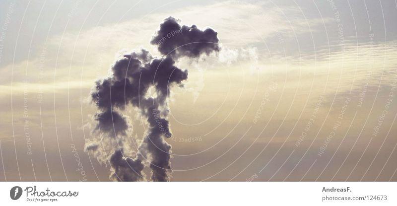 Raucherbereich Himmel Wolken Umwelt Luft Klima Energiewirtschaft Elektrizität Industrie brennen Schornstein Abgas Umweltschutz Klimawandel Kohlendioxid