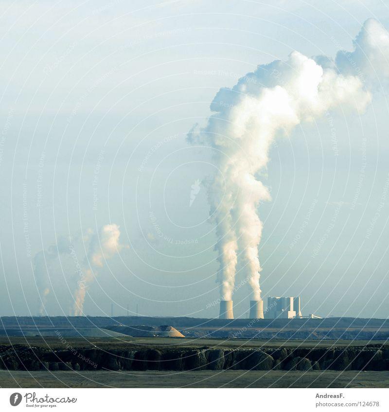 Industrie Rauchen verboten Wasserdampf Klimaschutz Umwelt Umweltschutz Kampagne Kohlendioxid Abgas Luft Luftverschmutzung Elektrizität Braunkohle brennen Wolken