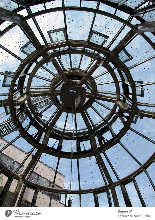 Das Netz Himmel Architektur Glas Kreis rund Dach Düsseldorf Einkaufszentrum