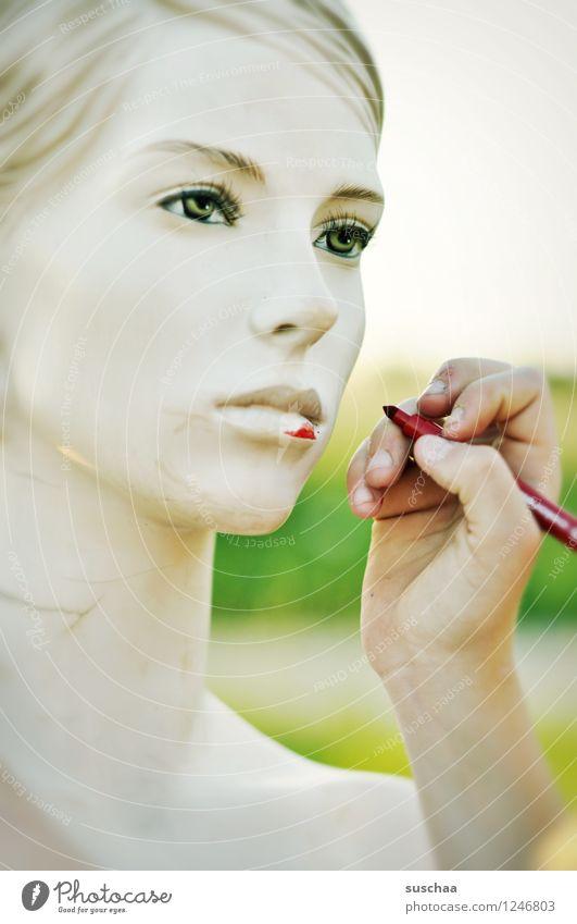 verschönern . Gesicht Kopf Schaufensterpuppe Auge Nase Mund leblos falsch perfekt kalt Hand Finger zeichnen malen Filzstift rot Kindheit Kindheitserinnerung