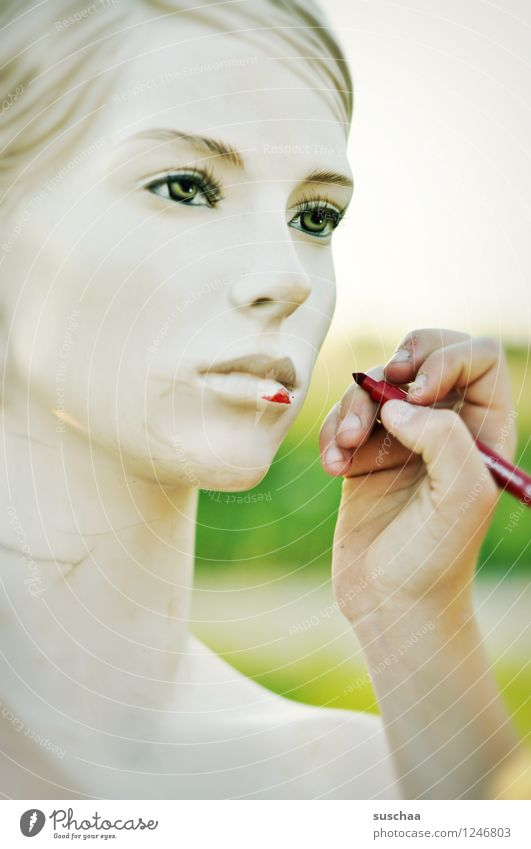 verschönern . Hand rot kalt Gesicht Auge Kopf Mund Finger Nase malen falsch Schaufensterpuppe perfekt Filzstift