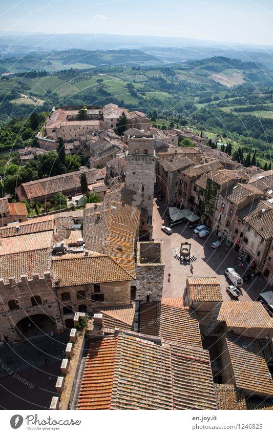 Morgenstund Ferien & Urlaub & Reisen Tourismus Ausflug Sightseeing Städtereise Sommer Sommerurlaub Himmel Horizont Feld Hügel San Gimignano Toskana Italien