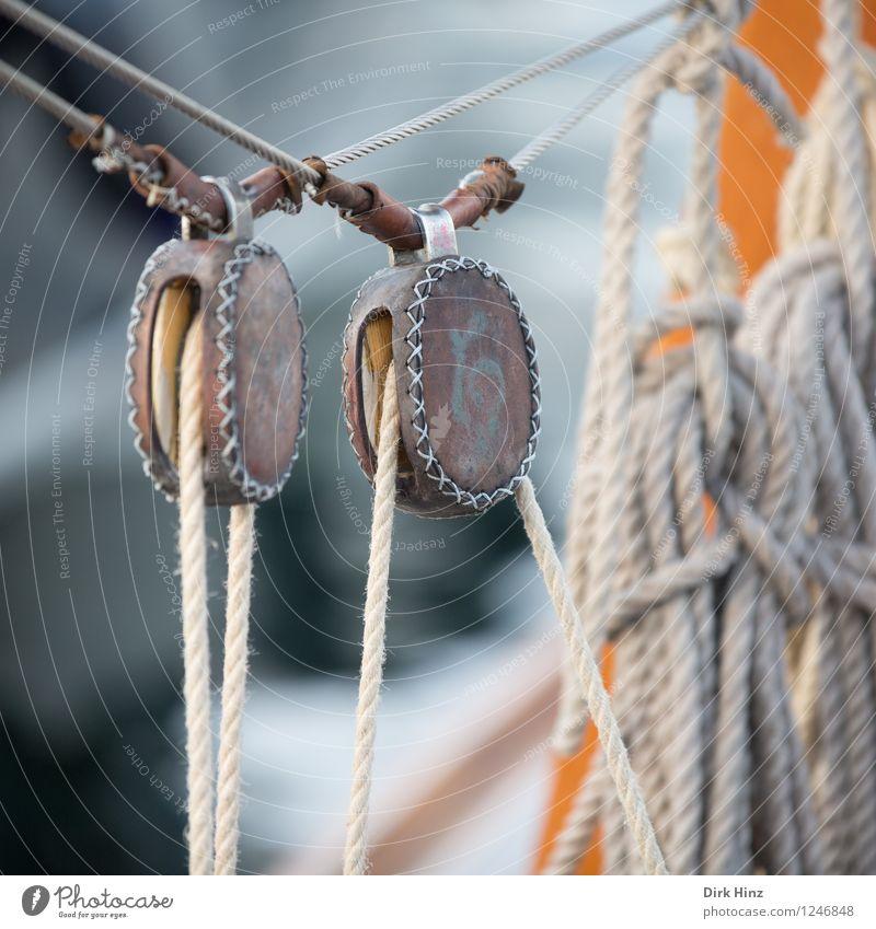 Doppelt hält besser Schifffahrt Bootsfahrt Jacht Segelboot Seil alt authentisch fest maritim braun grau orange Kraft Sicherheit Stress Versicherung Halt