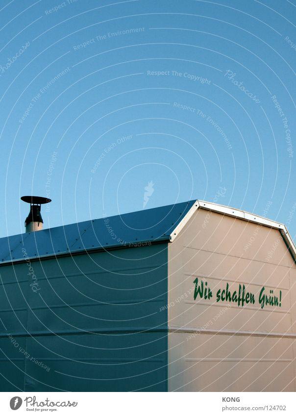 wenn blau und gelb zusammen.... Natur grün blau Sommer Farbe Wand Schriftzeichen Dach Werbung Dienstleistungsgewerbe Typographie Schornstein Blech Journalist sommerlich