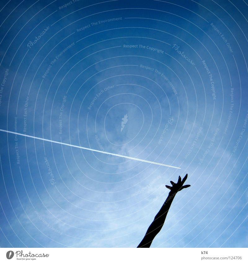 Handbremse Himmel Wege & Pfade Angst Arme Flugzeug Umwelt fliegen Luftverkehr stoppen fangen Verkehrswege ökologisch Panik Aufenthalt