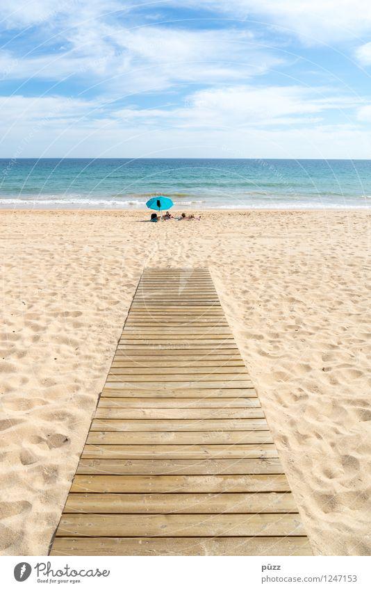 Auf dem Holzweg Himmel Natur Ferien & Urlaub & Reisen blau Sommer Sonne Erholung Meer Landschaft ruhig Ferne Strand Wärme Freiheit Schwimmen & Baden Sand