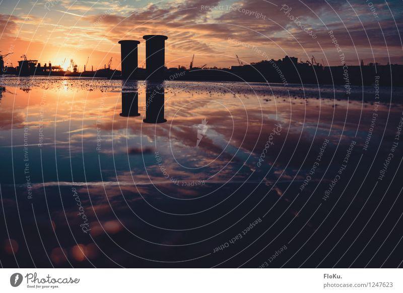 glühender Start in den Tag Tourismus Umwelt Urelemente Wasser Himmel Wolken Sonne Sonnenaufgang Sonnenuntergang Sonnenlicht Schönes Wetter Fluss Elbe Hamburg
