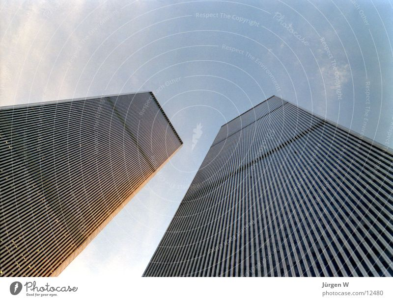World Trade Center, New York 1989 Himmel blau Wolken Hochhaus hoch USA Turm Denkmal Wahrzeichen New York City