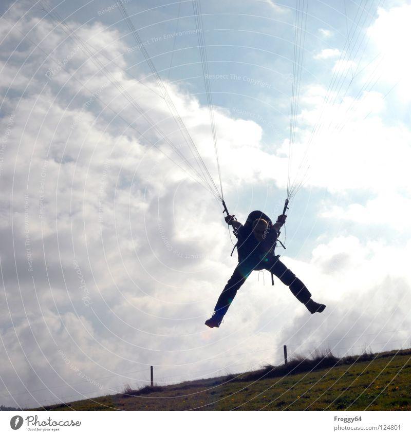 Aufgehängt-X Himmel weiß Baum grün blau Freude schwarz Wolken Farbe Sport Wiese Gras orange fliegen Horizont Beginn