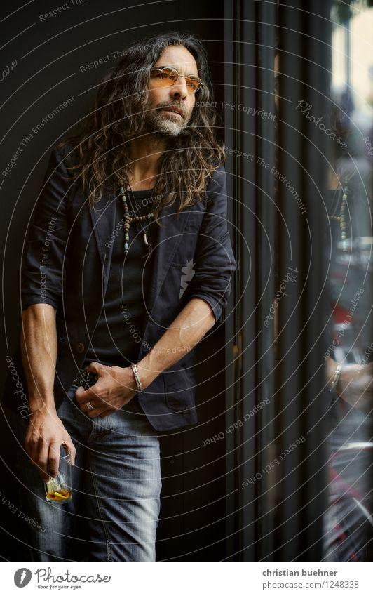 Ausschau Mann Erwachsene 1 Mensch 45-60 Jahre Mode Jeanshose Anzug brünett langhaarig Dreitagebart Coolness elegant frei trendy schön einzigartig Sinnesorgane